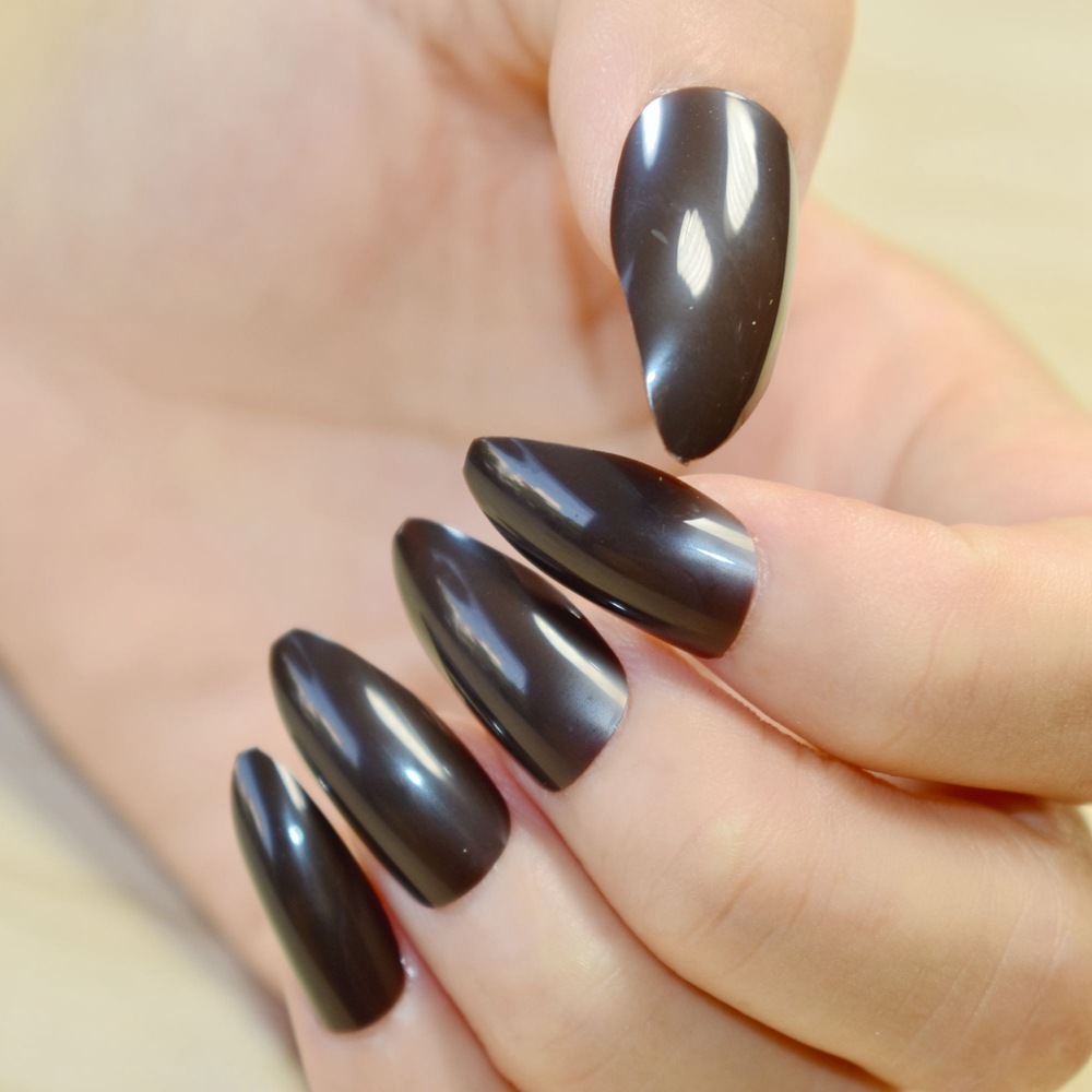 Full Wrap Medium Fake Nails Dark Color Sharpen Stiletto Acrylic Nail Tips Easily Diy Material Fashion Design 229p In False From Beauty Health