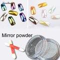 Brillo Metálico Mirror Efecto Holográfico en polvo Esponja Palo Espejo Bling Del Polvo de Pigmento de Cromo En Polvo para el Arte Del Clavo