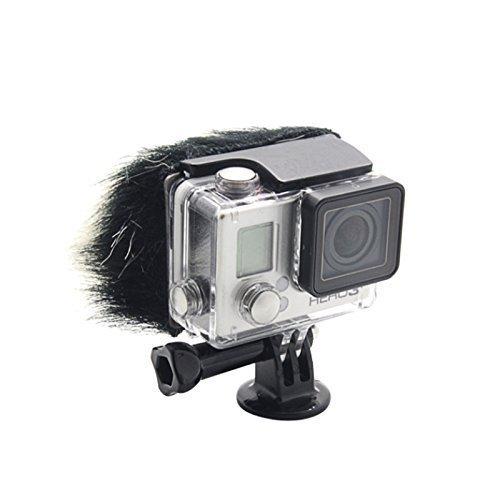 Cabelo Do coelho Pele De Redução de Ruído de Vento Muff Windscreen Ventosa para GoPro Hero 3 + 3 4 Camera
