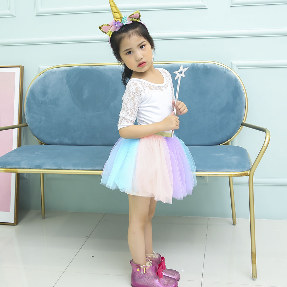 Pastel Clothing Unicorn Girls Skirts Princess Tutu Pony Knee Length Party Skirt with Hairband Set Kids Girl Tutu Skirts Children (3)