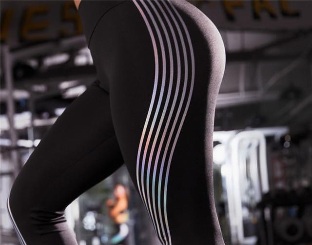 Women Fitness leggings With Reflective Strip Women Clothing Sportswear Leggings Athleisure