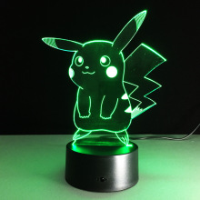 2017 Pokemon Lamp 3D Pikachu Night Light Halloween Kids Toys Holiday Gifts USB Lampe Pocket Monsters Lampara