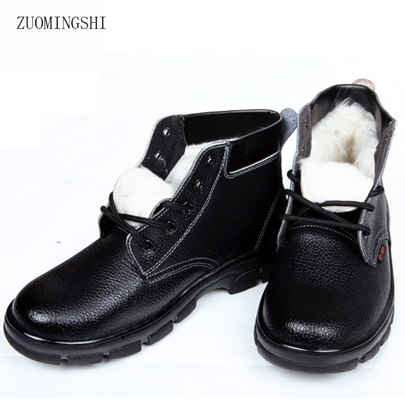 Winte leather boots men safety with steel toe steel sole shoes men wool Waterproof Fur boots image