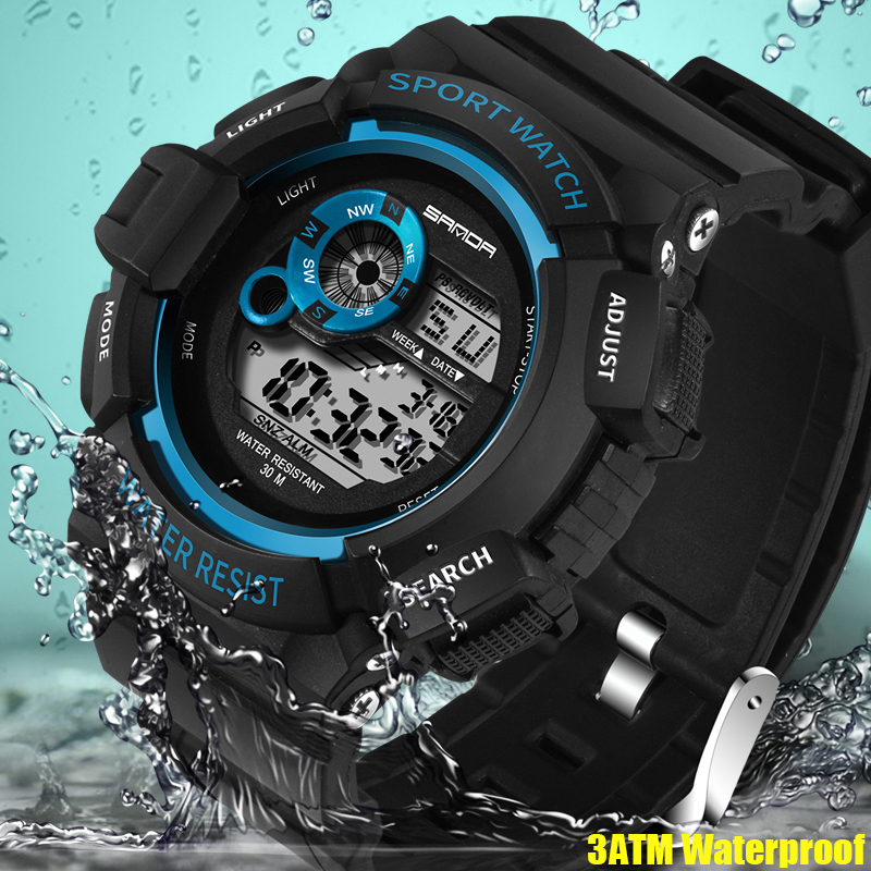 2018 SANDA Outdoor Sports Watches Hiking Men Watch Digital LED Electronic Watch Man Sports Watches Chronograph Men Clock 2018 silicone led sports watches men women dress children electronic led digital watch man ladies morning running sport watch