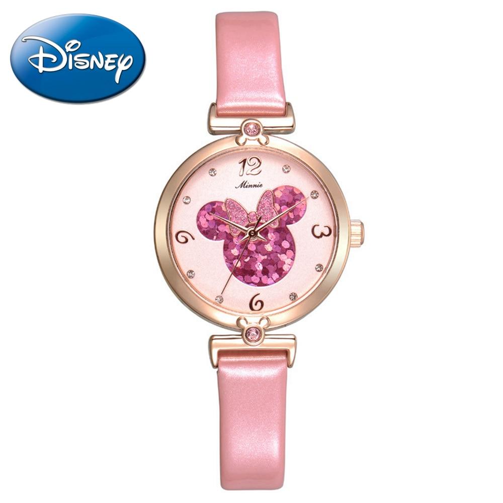ФОТО Girls Disney brand best quality luxury bling rhinestone leather charming watch Women Minnie fashion casual quartz watch 11009