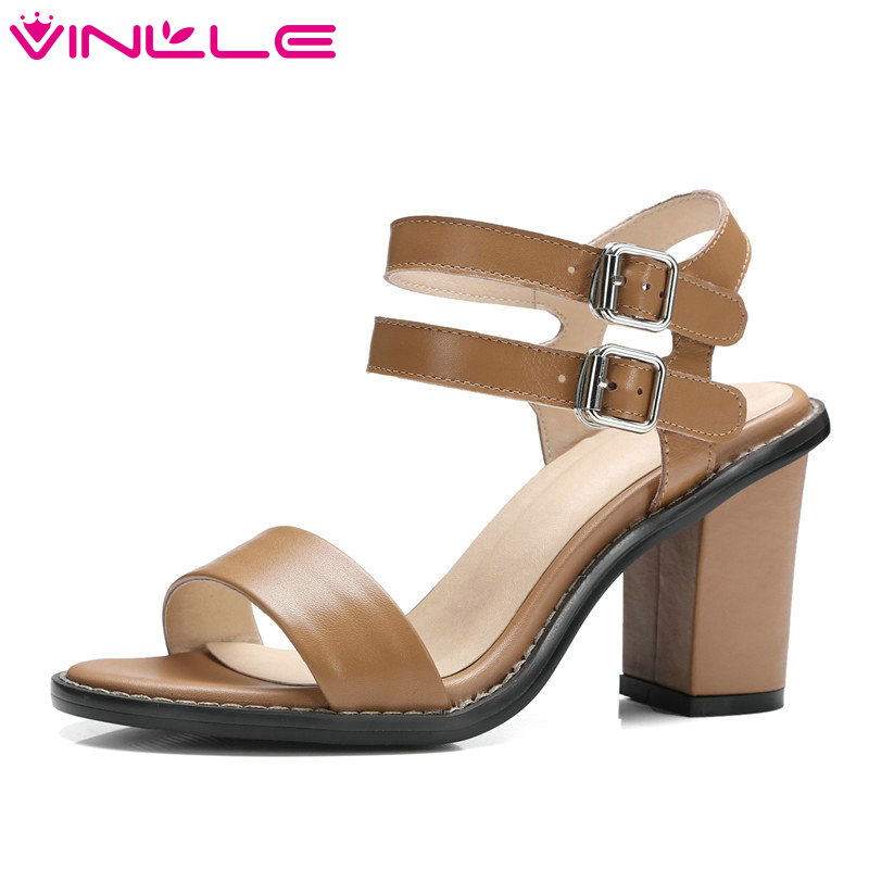 VINLLE 2017 Women Pumps Platform PU Genuine Leather Wedding Women Shoes Western Summer Shoes Square  High Heel Pumps Size 34-39 vinlle 2017 women pumps slingback shoes high heels all match pu leather square high heel elegant ladies summer shoes size 34 43