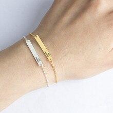 V Attract 2017 Popular Stainless Steel Lettering ID Bracelets Women Men Best Friends Graduation Gift Gold Bangles