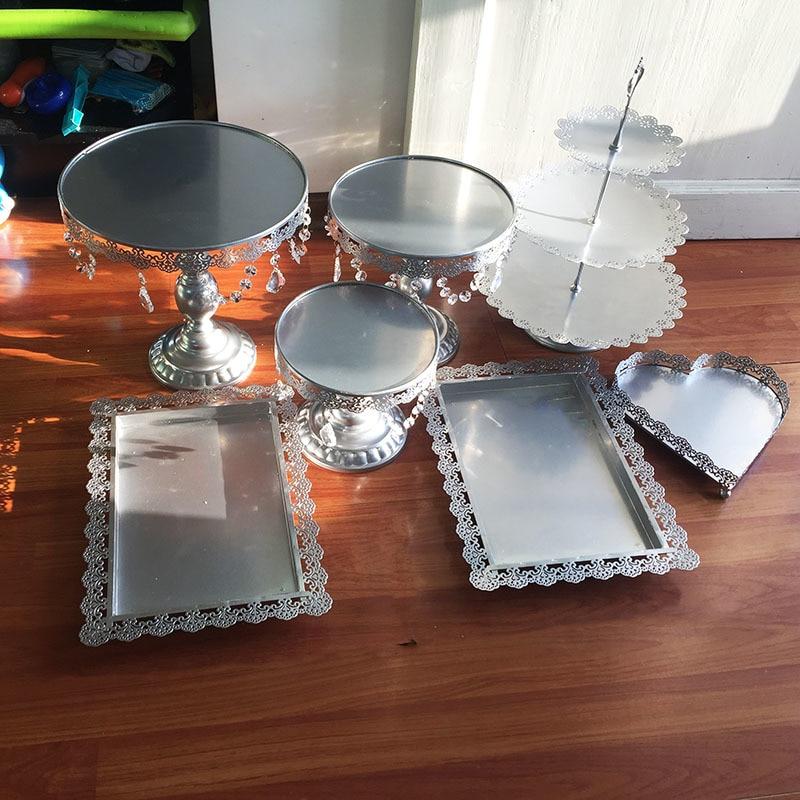 7 unids/set Metal hierro plata soporte de la torta set colgante del encanto acce