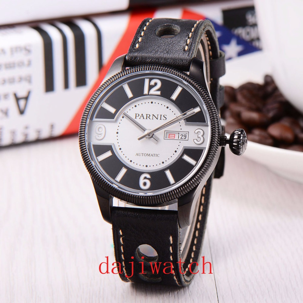 Parnis 43mm leisure sport black dial date display sapphireg mirror stainless steel case MIYOTA Automatic mens watch image