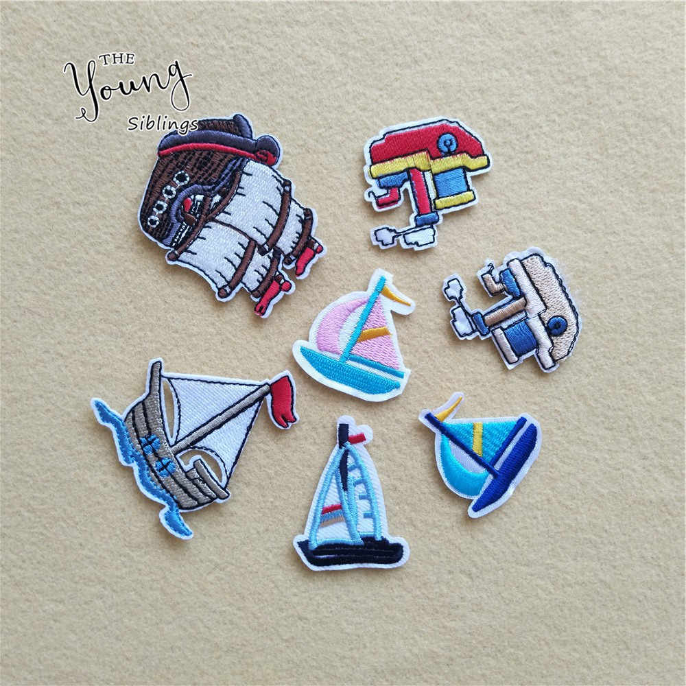 Exquisite Kids Clothes Fabric Stripes Stickers Embroidered Iron On Garments Jeans Appliques DIY Jeans Motif Badge Boats Patches