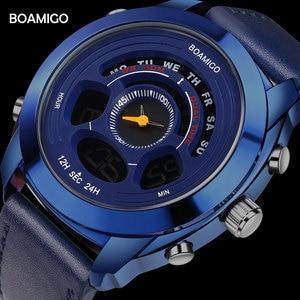 Мужские спортивные часы BOAMIGO, Цифровые кварцевые часы с синими кожаными светодиодами, водонепроницаемость 30 м, подарок, Reloj Hombre