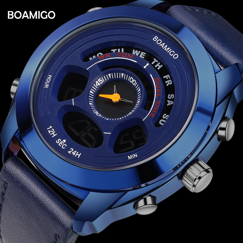 BOAMIGO Brand Men Sports Watches man blue Leather LED Digital Quartz Wristwatches 30m Water Resistant Gift Clock Reloj Hombre boamigo men sports watches brown leather band man military quartz led digital analog casual wristwatches waterproof reloj hombre