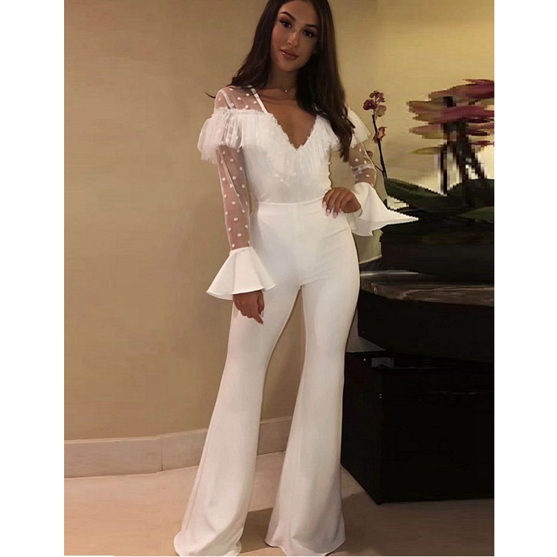 2019 Women's Rompers New Arrived Lace Jumpsuit Elegant Flare Sleeve V Neck Sheer Lace White Bandage Jumpsuit Party Outfits Club