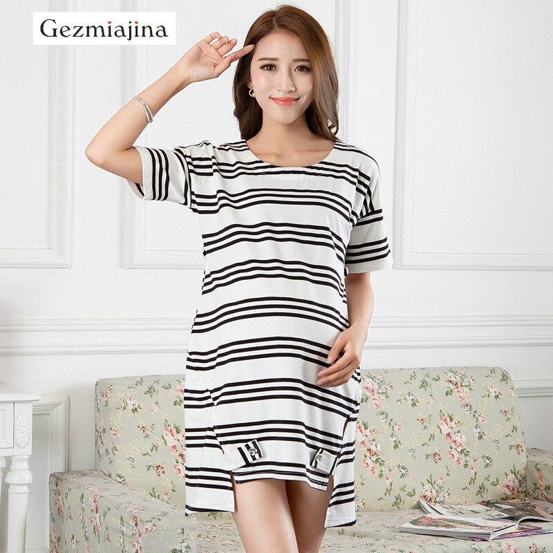 200b9bb1dbc6c Summer Maternity Dress Cotton 2019 New Maternity Tops Blouse Long Tees  Fashion Striped T-shirt