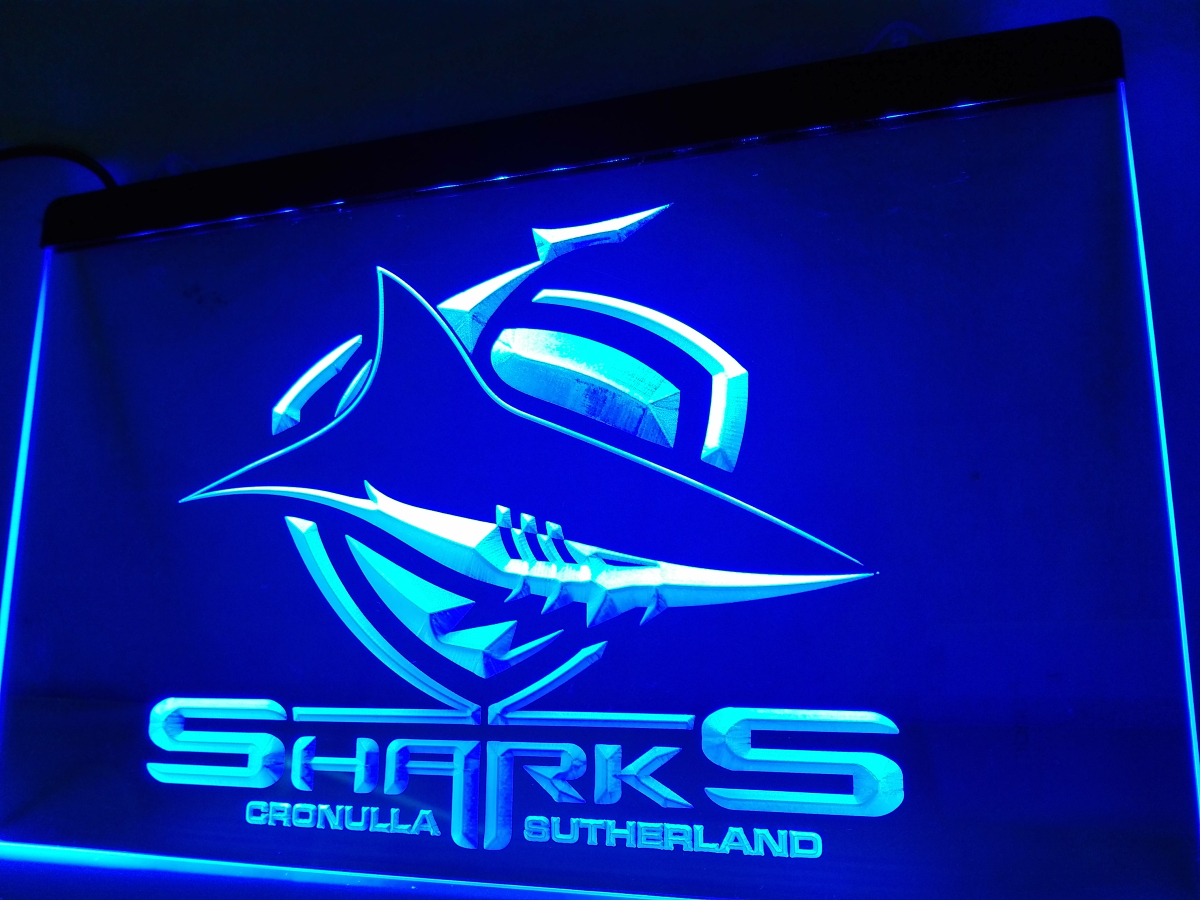 Ld375 sharks cronulla sutherland led neon light sign home for Room decor neon signs