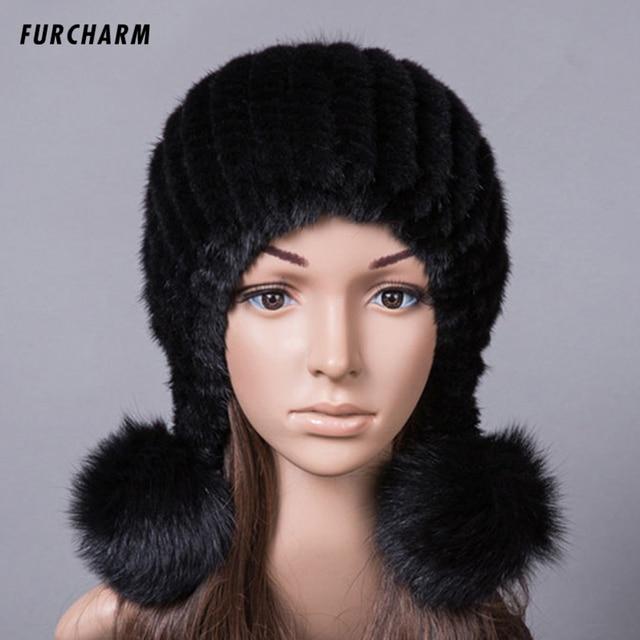 100% Sombrero De Piel de Visón Real para Las Mujeres de Invierno de Punto  Gorros 7cf0cb53b445