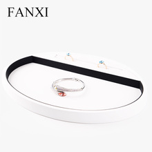 Oirlv Free Shipping New Oval White PU Leather Wood Jewelry Display Serving Tray Ring Necklace Bracelet Holder Counter Organizer