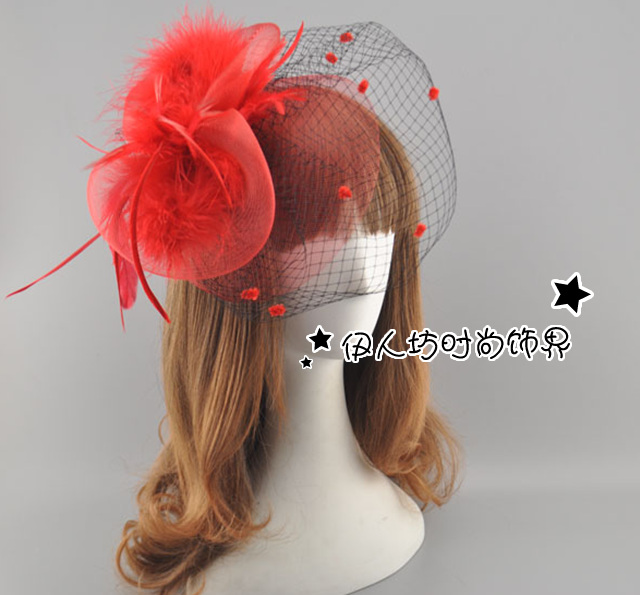 Colorful Feather Bridal Hats Wedding Accessories Tulle 2017 Wedding Headpiece Vintage Hair Wear Real Image Sexy