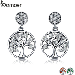 BAMOER Genuine 100% 925 Sterling Silver Tree of Life ,AAA Zircon Drop Earrings for Women Sterling Silver Jewelry Brincos SCE067