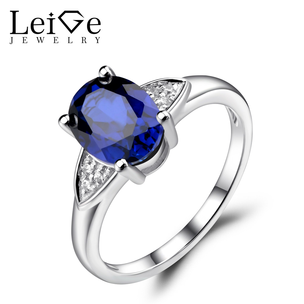 Leige Jewelry Blue Sapphie Engagement Rings Oval Shaped Blue Gemstone Jewelry Sterling Silver 925 Wedding Rings for Women leige jewelry swiss blue topaz ring oval shaped engagement promise rings for women 925 sterling silver blue gemstone jewelry