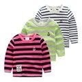 Child 100% cotton t-shirt kids boys stripe top clothes 2017 spring children's clothing child long-sleeve T-shirt basic kids boys