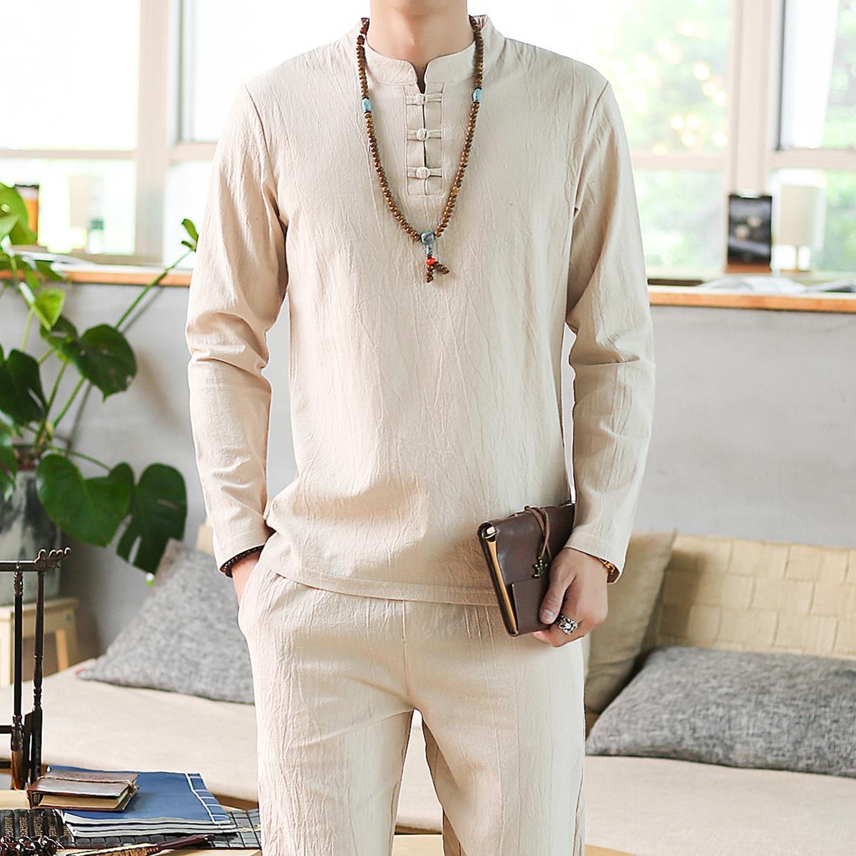LOLDEAL Summer Men's Long Sleeve Pants Set Linen Chinese Large Size Men's Solid Color Long Sleeve T-Shirt Set