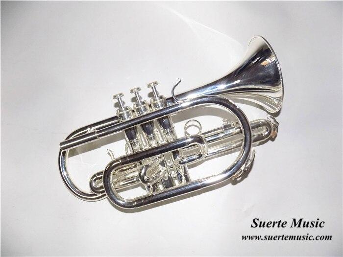 Bb Flat Cornet Brass Instrument Versilberte Cornet Trumpet Musikinstrumente mit Mundstück und Tragetasche