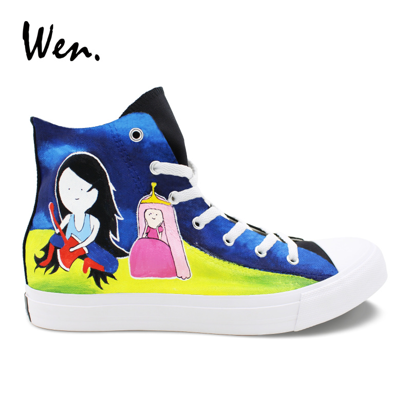 Wen Student Sneakers Graffiti Hand Painted Canvas Shoes Adventure Time Design Vulcanized Shoes High Help Casual Flat Plimsolls e lov hand painted graffiti horoscope canvas shoes custom luminous graffiti gemini casual flat shoes women zapatillas mujer