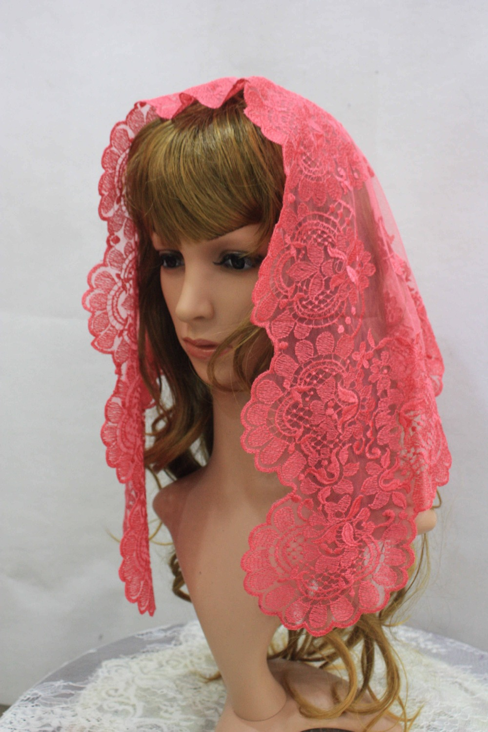 Small Size Chidren Pink Embroidery Spanish Lace Mantilla ...