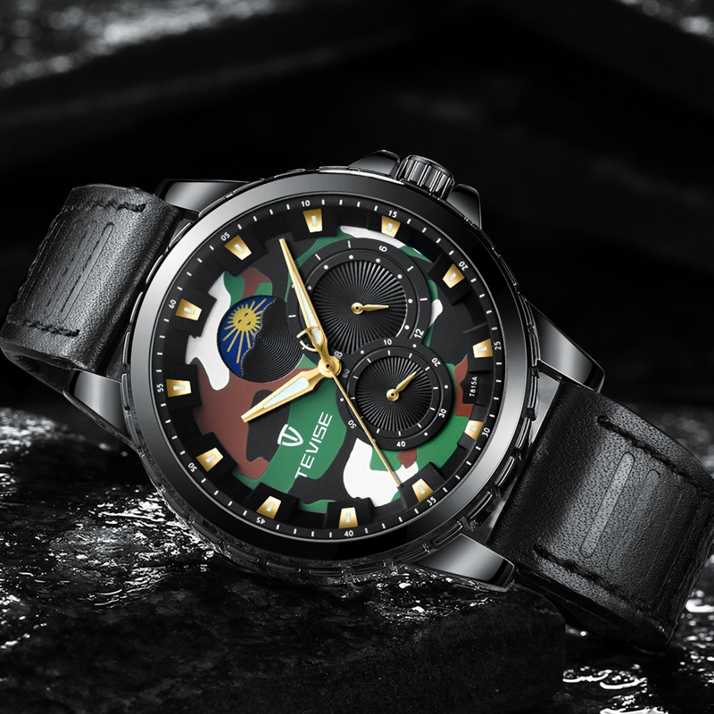 Tevise Mens Self-Wind Moon Phase Mechanical Watches Automatic Skeleton Watch Men Leather Wristwatches Relojes Hombre T815ATevise Mens Self-Wind Moon Phase Mechanical Watches Automatic Skeleton Watch Men Leather Wristwatches Relojes Hombre T815A