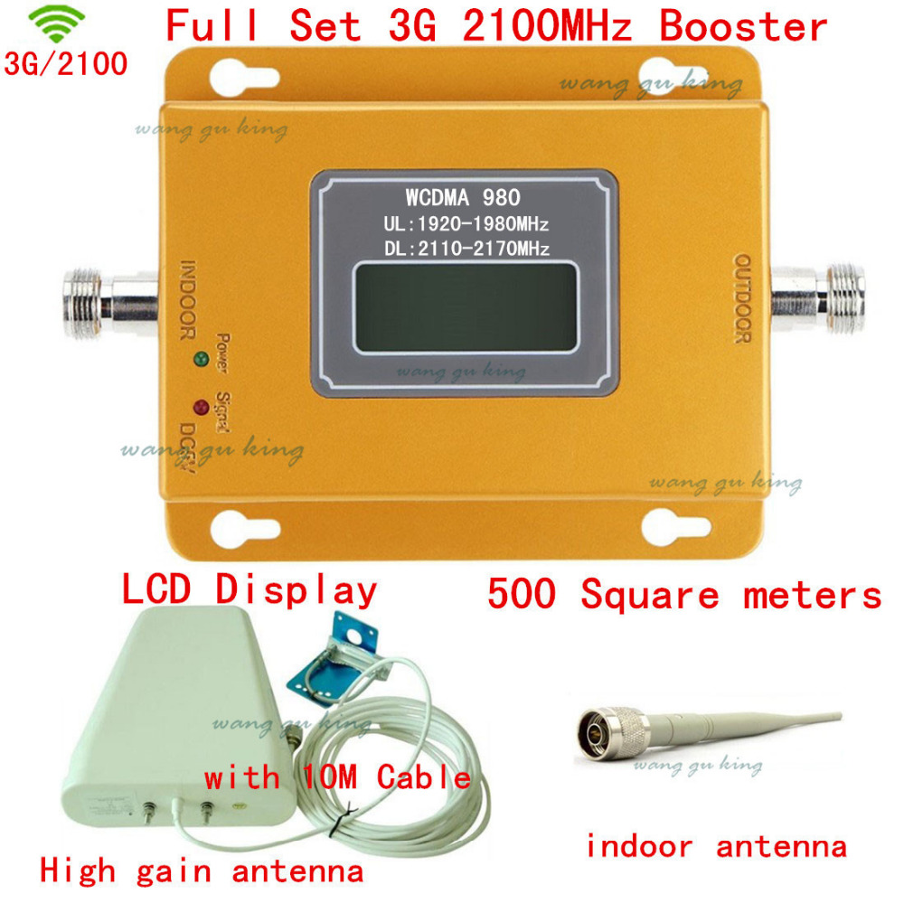 Full Set LCD Display 3G W-CDMA 2100MHz Cell Phone Signal Booster 3G 2100 UMTS Signal Repeater Amplifier Outdoor Antenna + Cable