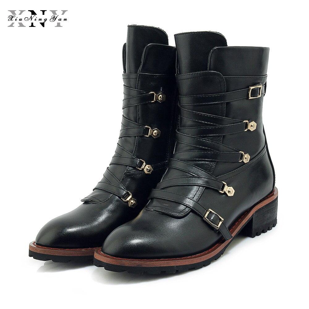 Xiuningyan Hecho Autumn Cuero Zapatos Mano Genuino Caliente Moto Calzado Mujeres Mujer De Winter Marca A Botas Decoración Invierno Metal black Cremallera Black 6rqf6w7H
