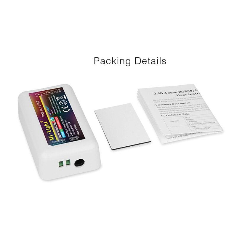 Lumière Mi sans fil 2.4G, télécommande à tonalité tactile RGB à 4 zones pour bande led, contrôleur de gradation en Wifi RF, contrôleur rgb