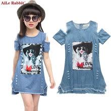 AiLe Rabbit Children Dresses For Girls Denim Dress Summer Strapless Dress Pattern Girls Clothing Short Sleeve Child Clothes