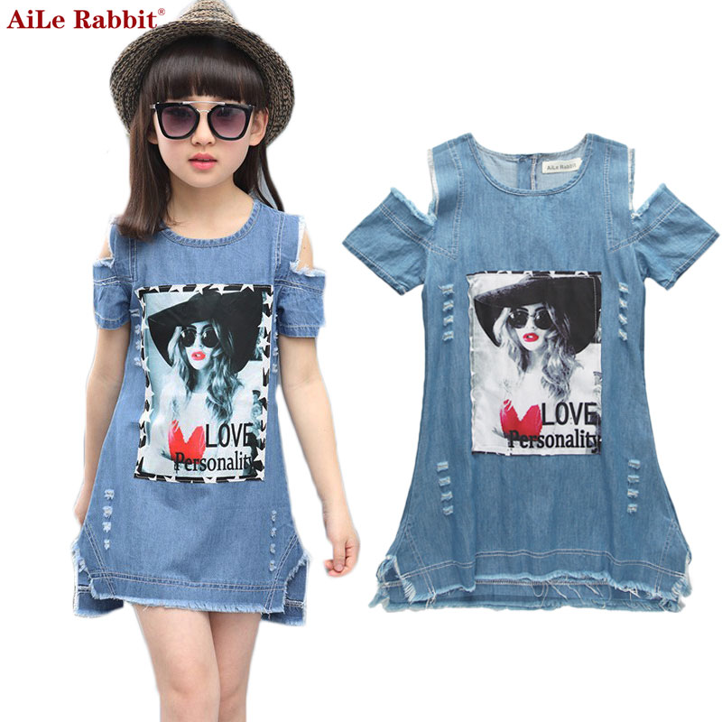 AiLe Rabbit Children Dresses For Girls Denim Dress Summer Strapless Dress Pattern Girls Clothing Short Sleeve Child Clothes aile rabbit summer 2016 new baby boy pattern rabbit toddler plaid kids clothes children clothing set