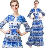 Blue And White Porcelain Print Slim Cupcake Maxi Dress Women Elegant Party Round Neck Flare Sleeves