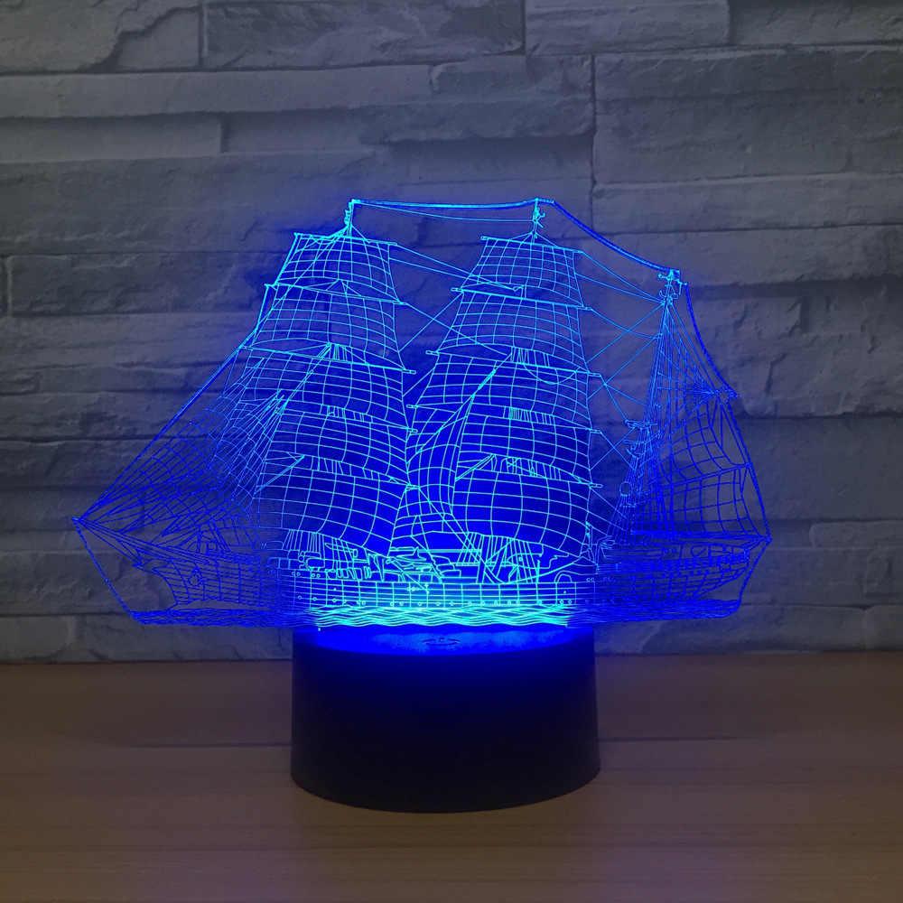 Парусный корабль светодиодный 3d ночник Регулируемый 7 цветов USB кабель дистанционный сенсорный переключатель настольная лампа лодка предметы мебели подарок
