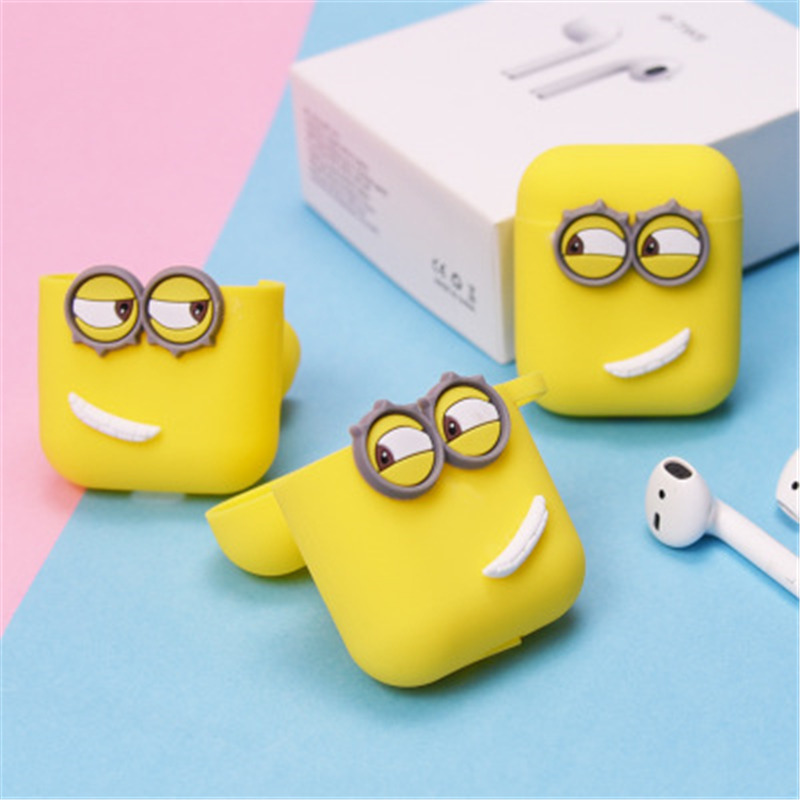 Image 3 - Cute Yellow Silicone Earphone Case For Apple Airpods i7 i10 TWS bluetooth Headphone Case Earphone Accessories For gifts-in Earphone Accessories from Consumer Electronics