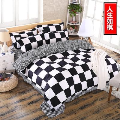 summer style brushed cotton duvet cover set queen size 4pcs/set bedding set home textile bed linen flat sheet bedclothes