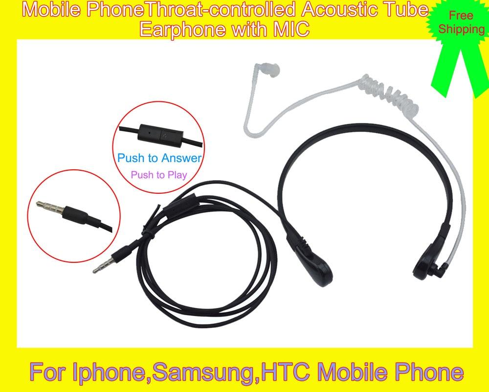 Air Tube Throat Vibration Finger PTT Acoustic Tube 3.5mm Mono Earphone Handsfree For Iphone,Samsung,HTC Mobile Phone