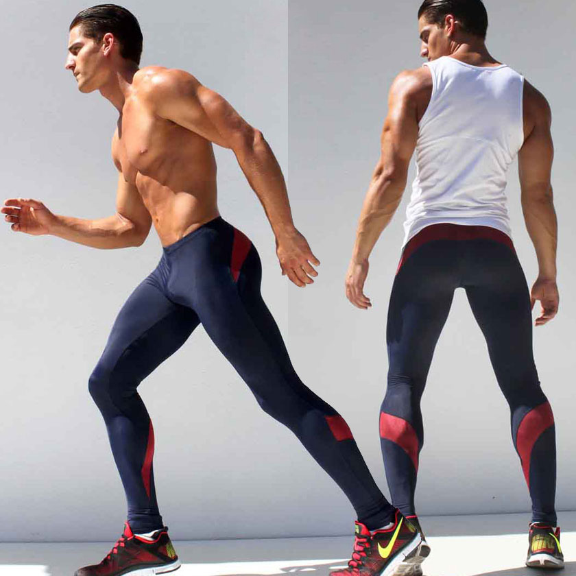 Men 39 s Long Tight Pants Ankle Length Elastic Skinny Mallas Hombre Running Mens Compression Running Tights Mallas De Deporte in Running Tights from Sports amp Entertainment