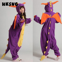 HKSNG Unisex Adult Winter Spyro Shiryu Purple Dragon Green Grey Gray Pink Dinosaur Pajamas Onesies Cosplay