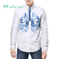 Echoine digital 3D print shirts men turn down collar long sleeve blouse fashion mans white shirts casual mens working tops