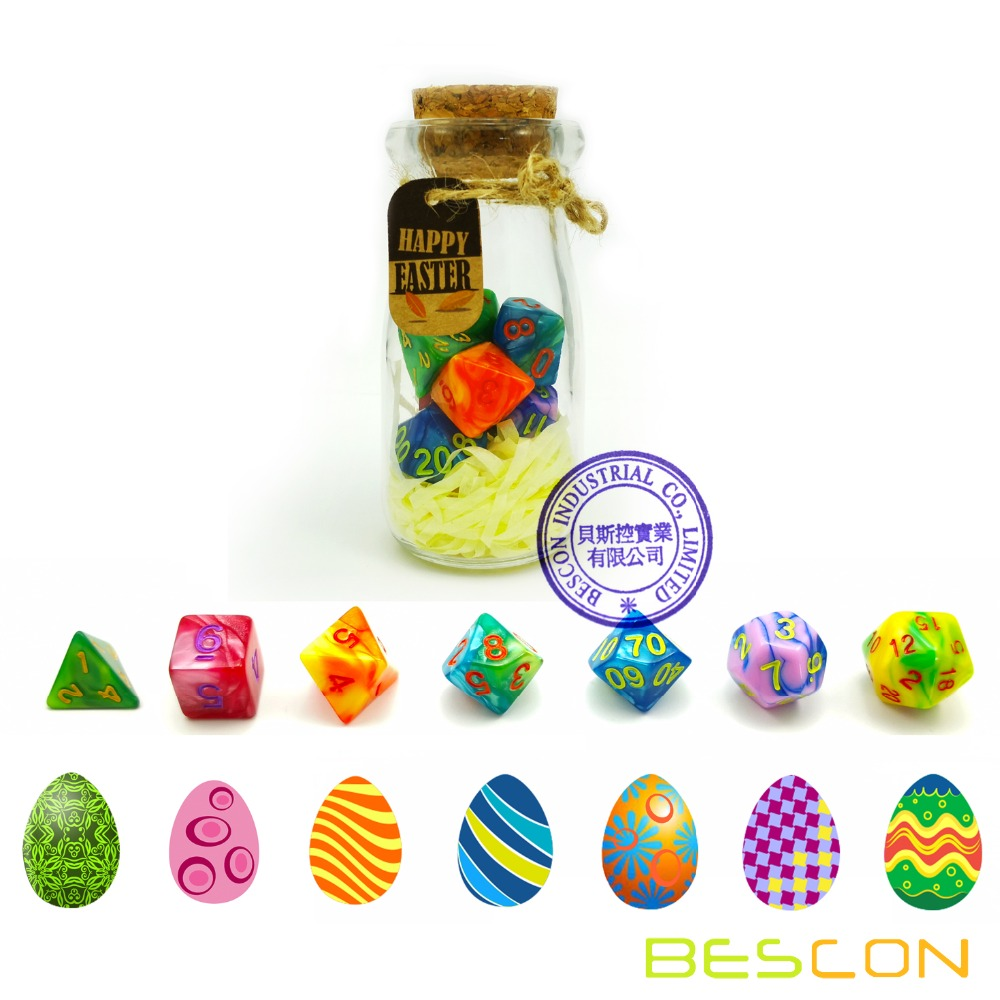 Bescon Easter Dice Polyhedral Dice 7pcs RPG Set In Glass Jar, RPG Dice Set Of 7, DnD Easter Dice