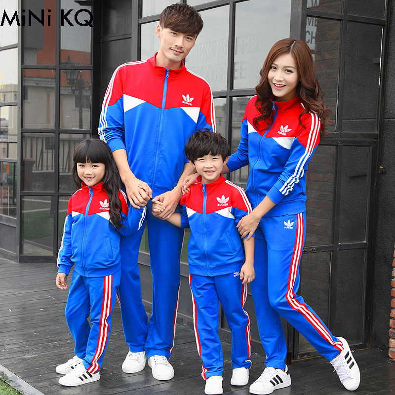 ФОТО Fashion Autumn Winter Family Matching Outfits Family Tendrils Mother Father Daughter Son Clothes Family Parents Baby Sport Set