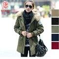 Mulheres jaqueta de inverno PARKA FEMME mujer veste casaco sobretudo feminino casaco casual com capuz de pele verde manteaux hiver 2016 MANTEAU