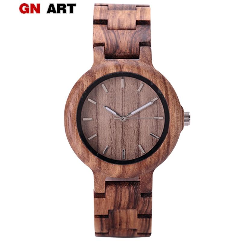 GNART деревянные часы relojes para mujer для женщин 2018 дерево часы фитнес часы для дам коричневый Relogio Feminino