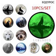 WOLF Luminous Glass Fridge Magnet Decor Glow In The Night 10PCS/Set 25 MM Animals Refrigerator Decoration Magnetic Stickers