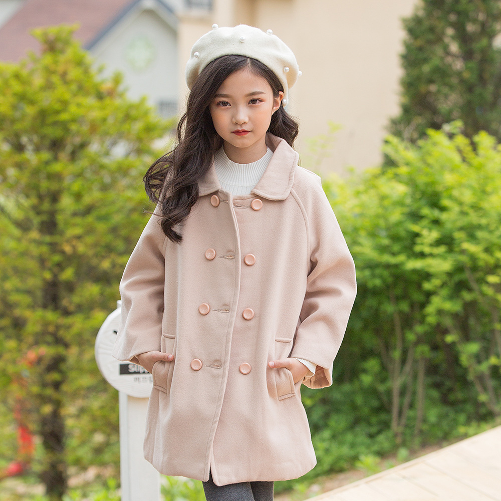 Kseniya Kids 2018 Autumn And Winter New Children's Thick Double-breasted Lapel Wool Coat single breasted lapel lengthen wool coat