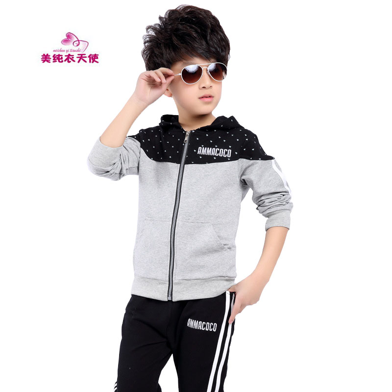 4 6 8 10 12 13 Years Kids Tracksuit Suit 2017 Spring Autumn Boys Hooded Sports Clothing Hoodies + Pants 2 Pcs Children Clothing